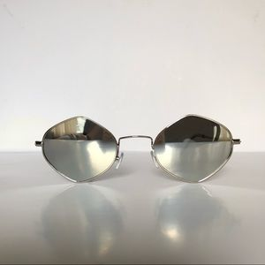 Silver Retro Hexagon Frame Sunglasses